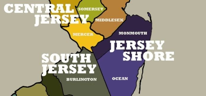 NJ Regions Map: South, North, Central, Jersey Shore