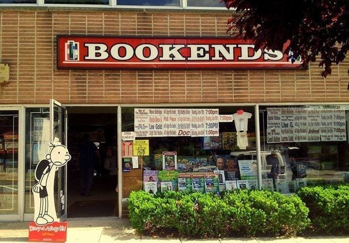 """image of bookstore front with sign that reads """"bookends"""""""