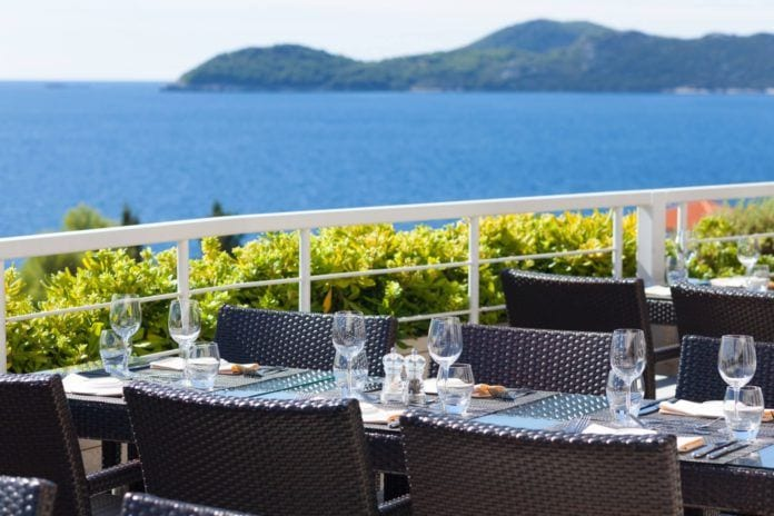 outdoor seating at romantic restaurant