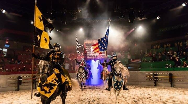 Medieval Times knights entering the arena