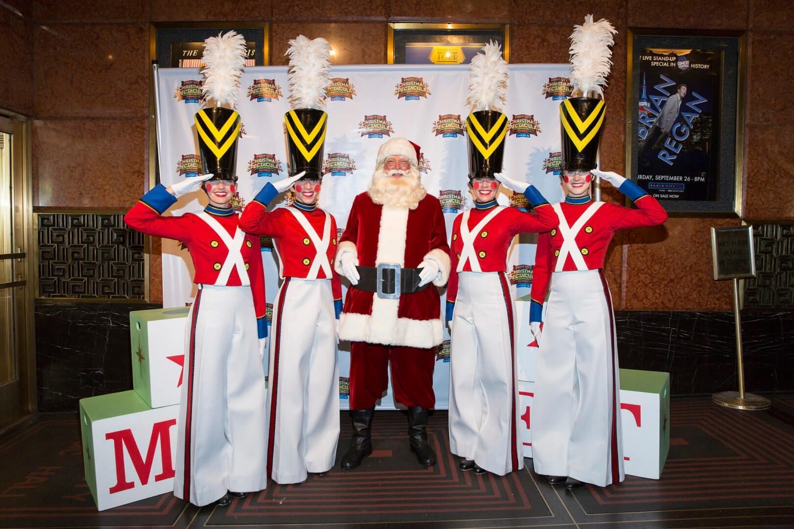 """Hamrah (second from the left) and fellow Rockettes at a """"Christmas in August"""" event"""