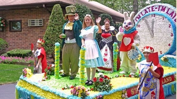 alice in wonderland characters on a float