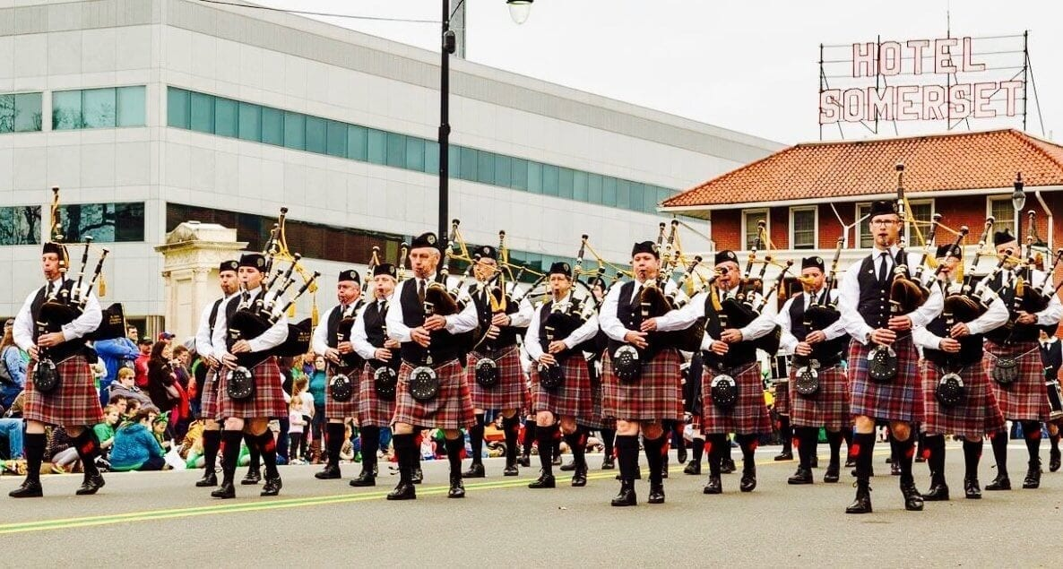 Parade Line Playing Bagpipes