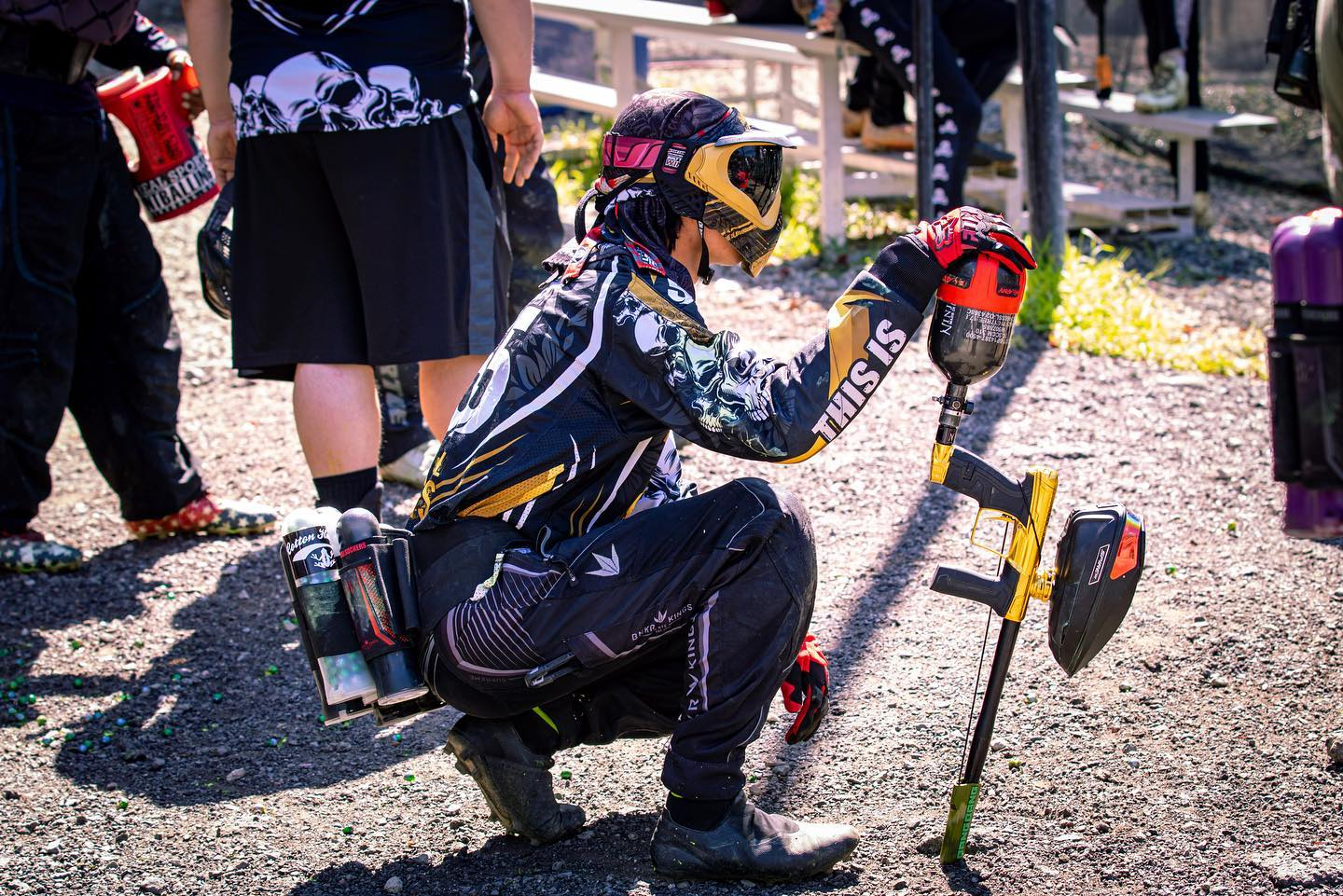 paintball player crouching