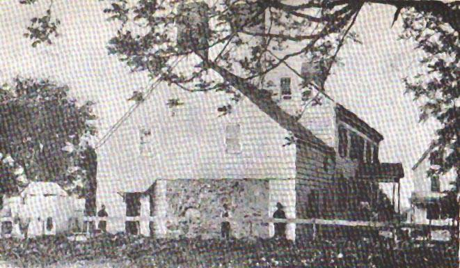 exterior shot of white clapboard tavern/inn; old photocopy image