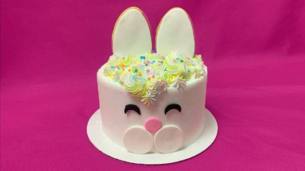 white cake decorated to look like a bunny