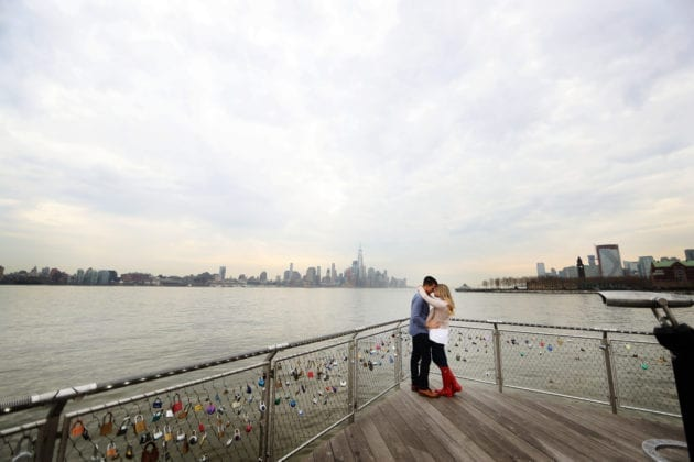 Gabelli Studio Couple in front of City Skyline