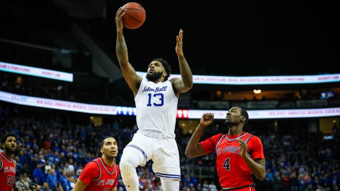 Seton Hall Pirates player Jumping for a lay-up
