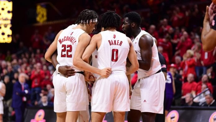 Scarlet Knights Basketball Team Huddle during Play Call