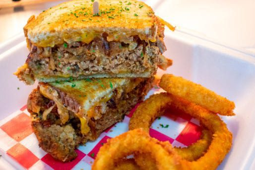 Meatloaf Grilled Cheese with Onion Rings